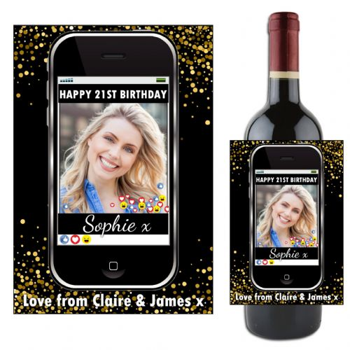 Personalised Phone Emotion Happy Birthday Wine / Champagne Bottle PHOTO Label N117